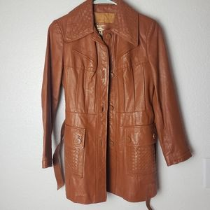 The Tannery Vintage Leather Trench Coat fall color